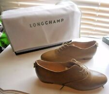 New Longchamp Paris ~ Art to Wear ~ Curry Lace Up Flat Oxford Shoes ~ 39