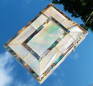 RARE BEAUTIFUL VICTORIAN RECTANGLE MOTHER OF PEARL AND ABALONE CARD CASE c1880