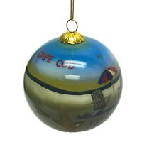 Cape Cod Beach Chairs Reverse Painted Glass Ball Christmas Tree Ornament