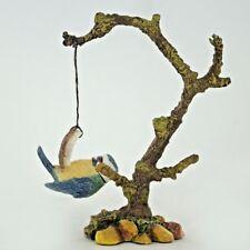 Blue Tit On Branch Sculpture Figurine Painted Garden Gift Bowbrook Coconut 04068