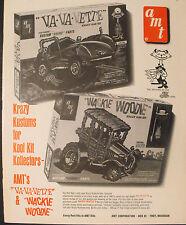 1965 AMT Krazy Kar Model Car Memorabilia Va,Va.Vette,Wackie Woodie Toy Kits AD