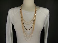 "Gold tone Cross 7-strand multi chain draped 34"" long statement bib necklace"