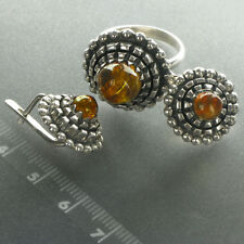 LATVIAN handmade SILVER and AMBER ring and earrings set