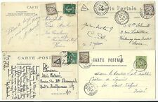 1900/12  4 x FRANCE PPCs ALL WITH 10c POSTAGE DUES ADDED