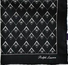 New Auth RALPH LAUREN PURPLE LABEL Black 100% MULBERRY SILK Pocket Square