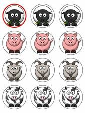 """12 FARM ANIMALS 2"""" CUPCAKE EDIBLE ICING IMAGE CAKE TOPPERS #1"""
