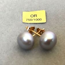 BO PERLES DE CULTURE VÉRITABLES GRIS  8.5MMX 8.5MM / OR JAUNE 18KT