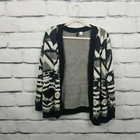 H&M Divided Womens Size Small Cardigan Sweater Open Front Black Tan Aztec Print