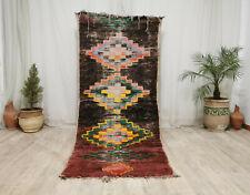 """Moroccan Boujaad Vintage Handmade Rug 3'6""""x8'5"""" Berber Geometric Black Wool Rug"""
