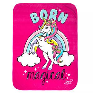 """JOJO SIWA UNICORN SHINE BORN MAGICAL PINK PLUSH THROW 46"""" X 60"""""""