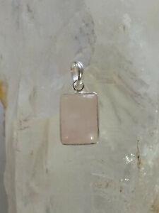 476 Rose Quartz Solid 925 Sterling Silver Rectangle Gemstone Pendant rrp$34.95