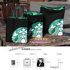 New Starbucks CANVAS TOTE  BAG HANDBAG Lunch Bag BLACK SMALL SIZE FREE US SHIP