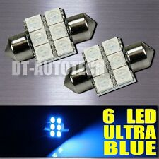 20X Blue SMD 6-LED Map/Dome Interior Lights Bulbs 31MM Festoon