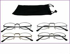 Mr. Reading Glasses [+2.25] 4 Pair All Black Metal Frame Reader Wholesale 2.25