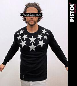 Pistol Boutique men's Black NECK CHEST STARS Casual Classic Sweatshirt Jumper