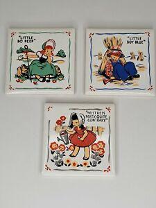 Vintage nursery rhyme tile plaques Kay-Tee Little Bo Peep Boy Blue Mistress Mary