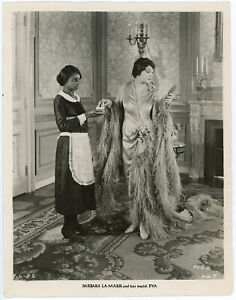 Barbara La Marr Attended By Her Maid on Heart of a Siren Film Set Original Photo