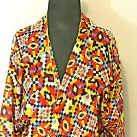 LuLaRoe Shirley Open Cardigan Draped Kimono Duster Red Yellow Blue Geometric Med