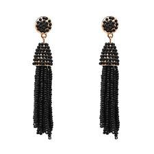 Boucles d`Oreilles Mini Perle Pompon Tassel Fait Main Artisanal Noir AA21