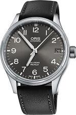 New Oris Big Crown Pro Pilot Date Grey Dial Leather Strap Watch 75176974063LS