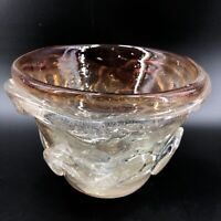 Vintage Hand Blown Art Glass Signed Bowl Planter Brown Gold Clear Pontil 5.5 X 7