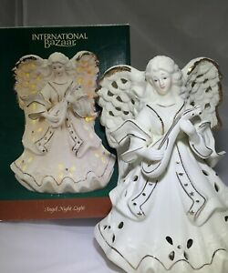 Vintage Porcelain Christmas Angel Night Light Table Top Ivory With Gold Trim