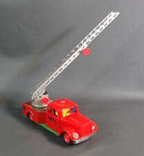 VTG 1950 Rare Czech Ites Igla Igra Tin Toy Wind Up Fire Engine Truck Ladder 1/30