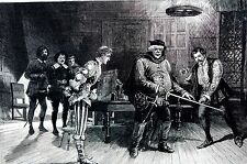 Lyceum Theater 1890 HENRY IV   -  Irving Dramatic Club Matted Print Engraving