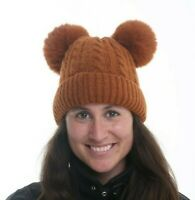 BRAND NEW LADIES GINGER KNITTED HAT WITH DOUBLE FAUX FUR POMS AND FLEECED LINED