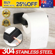AU Black Stainless Square Toilet Paper Roll Holder Rack Hook Bathroom Washroom