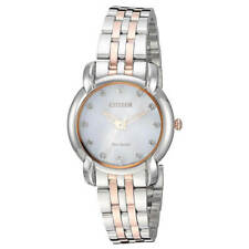 Citizen Women Watch Jolie Diamante Pulsera dos tonos con dial blanco EM0716-58A