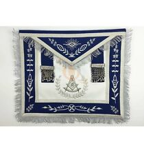 Masonic Blue Lodge Past Master Silver Machine Embroidery Freemasons Apron MA031