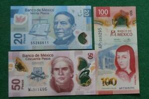 Lot of 3 Mexican 20,50 &100 UNC Pesos Bills Currency Current polymer