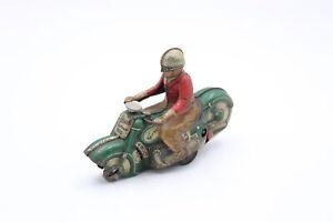 RARE Vintage SCHUCO Curvo 1000 Clockwork Tinplate Toy Model Motorcycle w/ Rider