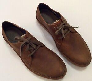 Clarks Mens Vargo Plain Oxford Shoes, Size 13M Dark Tan Leather Casual Shoes