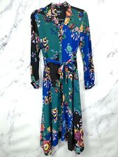 Anthropologie Maeve Floral Patchwork Shirtdress Button Belt Long Sleeve Dress 6