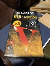 Pack of 3 Sony VHS Hi Resolution E-180 tapes. Sealed pack.