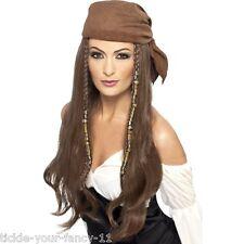 Señoras Piratas Marrón Peluca granos encantos & Bandana Fancy Dress Gallina película del Caribe