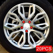 19mm Red Car Wheel Center Hub Screw Nuts Bolt Rubber Cover 20Pcs/set