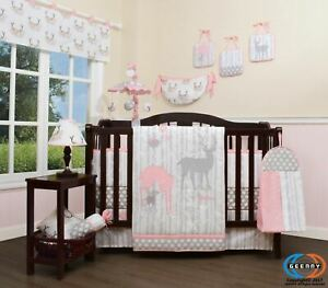 13PCS Girl Deer Family Baby Nursery Crib Bedding Sets  Holiday Special