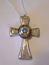 3.5 Inch Resin Silver & Turquoise Cross Christmas Ornament Holiday Decoration