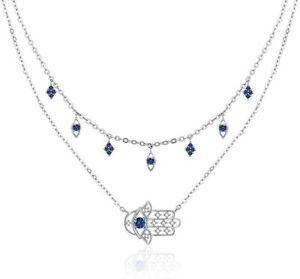 925 Solid Sterling Silver Dainty Necklace Rose Gold Vermeil CZ Gemstone Pink Enamel Evil Eye Pendant Necklace Eye Charm Necklace