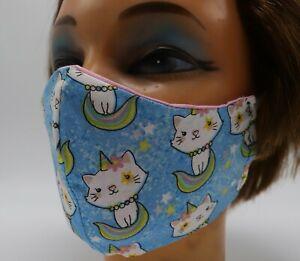 Cat Unicorn Print Washable Cloth Face Mask, Reusable Colorful Cotton Cover