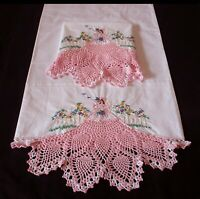 Pair Wite PillowCases Sateen Cotton Hand Embroidered Crochet Southern Belle 3#