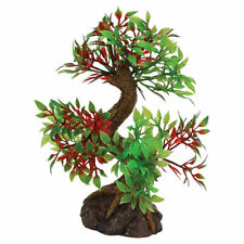 Plastic Tree With Rock Base Viv Reptile Decor Fish Tank Aquarium Tropical Green