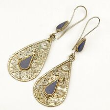 Pair LAPIS Earrings Afghan Tribal Bellydance Turkoman 725d1