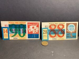 2 1953 Rochester NY Trolly & Bus Weekly Passes Tickets, Red Cross, Shrine Circus
