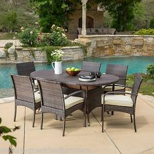 Outdoor Patio Furniture 7pc Multibrown Wicker Oval Dining Set w/ Cushions