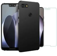 For Google Pixel 3 XL Case Slim Hard Back Cover & Glass Screen Protector