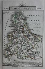 Original antique map SOUTH WALES, CARDIGAN BAY, BRISTOL CHANNEL, John Cary, 1819